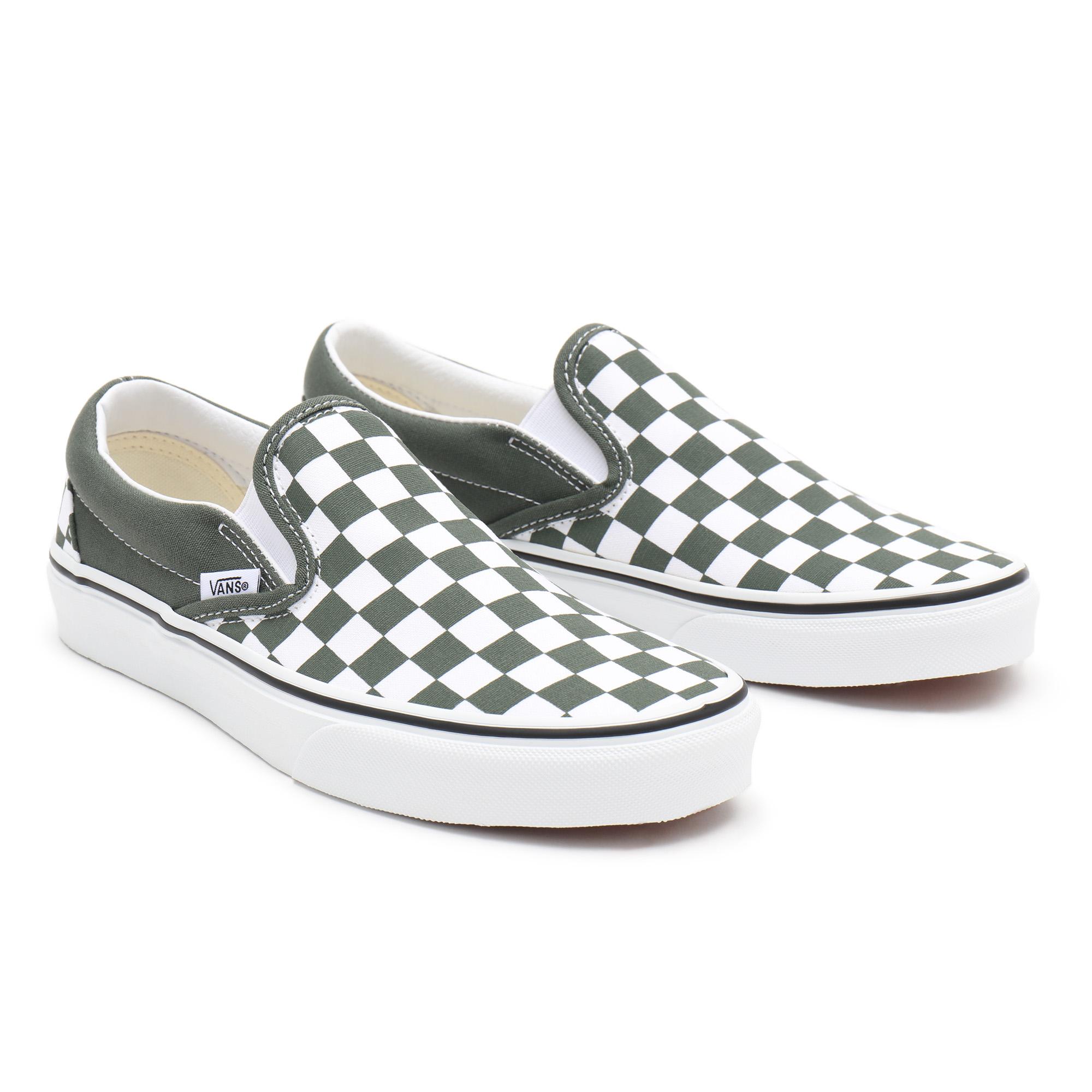 Слипоны Checkerboard Classic VANS белого цвета