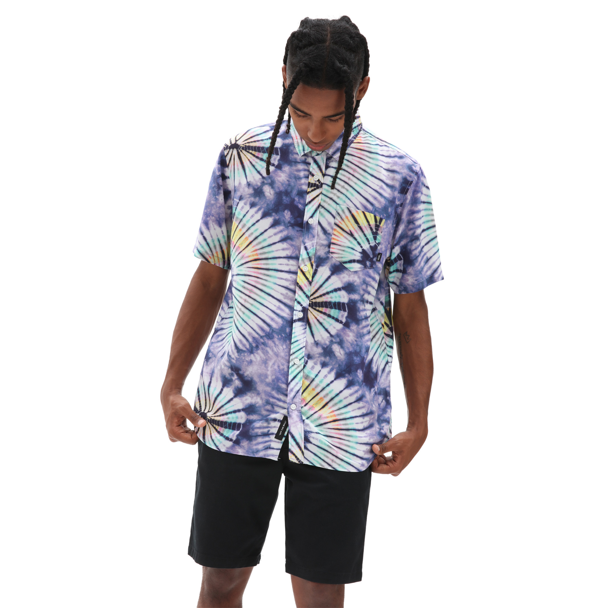 XL NWT KROME $72 ANARCHY Tie Dye Black Pullover Sweatshirt Sweater