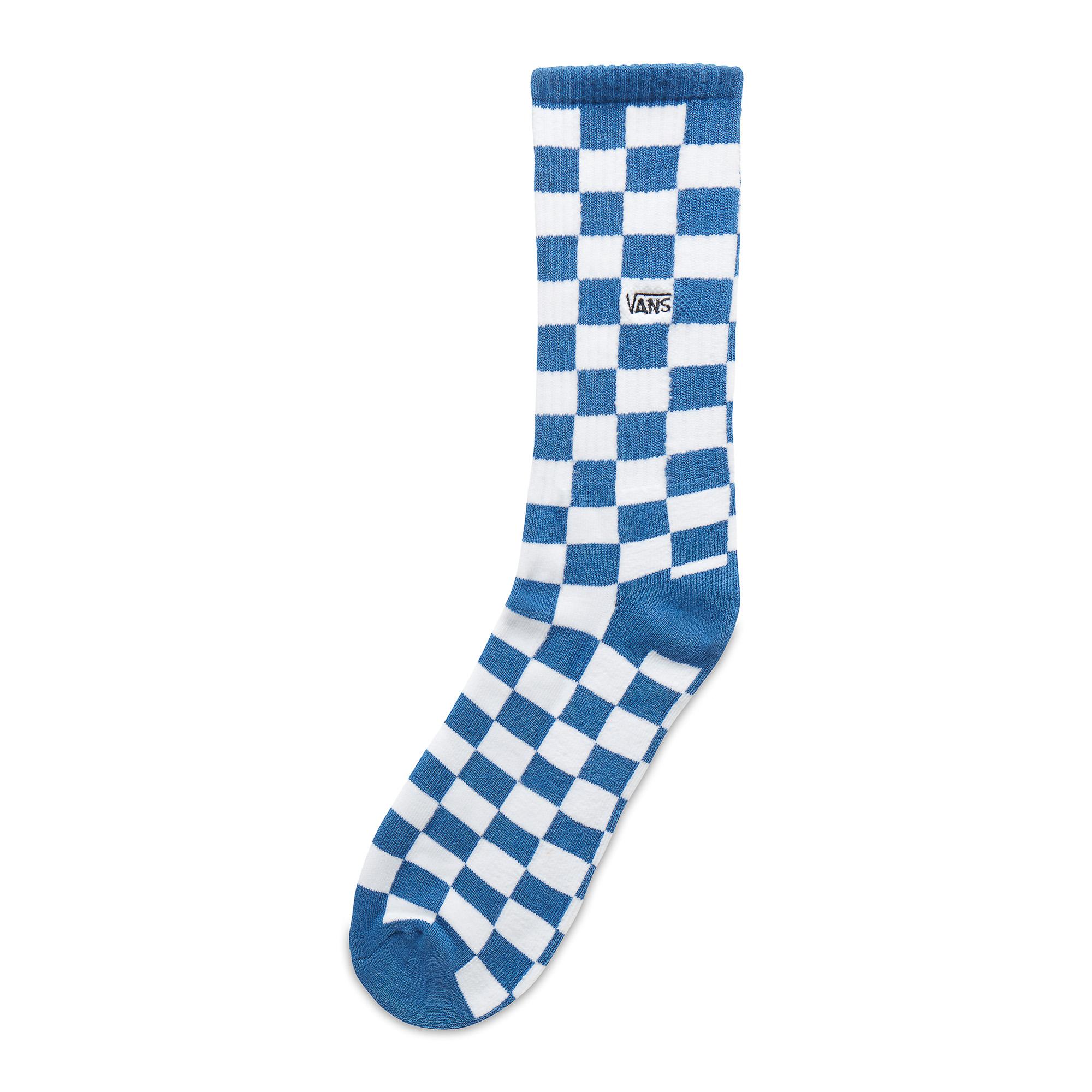 Купить Носки Checkerboard Crew, VANS, Китай, Голубой/Белый, 47% хлопок 44% нейлон 5% резина 4% эластан